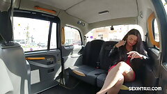 The horny taxi driver wants a private striptease show