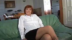 First-timer mature french female tasting a cock