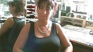 Big-chested mature dark-haired super-bitch sucks on hard