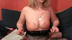 Blonde mature toys her both fuckholes on cam