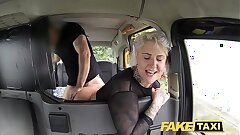 Faux Taxi blonde mummy gets surprise anal sex and rims the driver