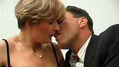 Short haired french mummy in stockings gets her bum pounded and facialized