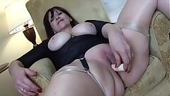 Ginormous melons Mature babe teases and masturbates with her fucktoy