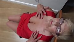 Busty mature Mrs Robinson shows off her curves and nice hairy pussy