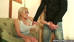 Skinny old mom in law taboo cock riding