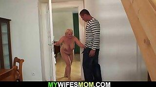 Buxomy light-haired granny fucks son in law