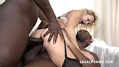 Grandma bi-atch Marina Beaulieu fucked like a bi-atch by 2 Black cocks
