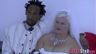 Grandma bride Lacey Starr sucks dick