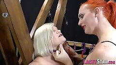 Granny gets pussy tongued in les 3way