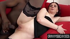 Granny Vs BBC - Older Silvia Muller Rectally Destroyed by a Ebony Anaconda