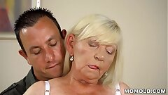 Unshaved granny pussy pummeled hard