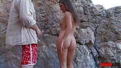 Hot milf brutally fucked at the beach with lot of drizzle and anal invasion