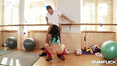 Huge-boobed Gym Babe Kyra Hot Gets a Titty Fucking Workout With Her Trainer