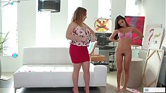 MOMMY'S GIRL - Hot as hell stepdaughter posing for mom - Natasha Nice and Gianna Dior