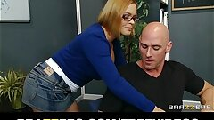 Horny school librarian gets inserted on her desk by big-dick