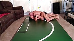 Playful wrestling ends in creampie