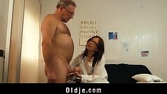 Young doctor drilling and inhaling old patient cock with her glasses on