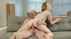 DADDY4K. Excited man finds his modest girlfriend and mature dad fucking