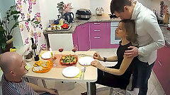 Cuckold, Fantastic Cutie Wife in threesome Sex With Paramour & Husband