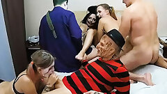 The Mischievous Halloween Adult Amateur Swingers In Hard Orgy Act