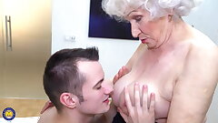 Grannys hairy cunny gets a warm visit from boy