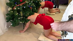 Stepmom gets stuck and pounded in the Christmas tree