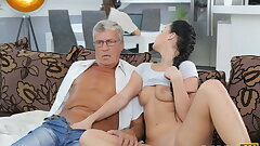 DADDY4K. Taboo sex of elderly boy and sweet brunette ends