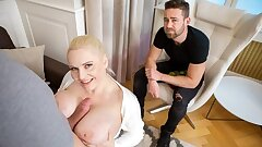 HUNT4K. Man admires how big-chested beauty makes hunter cum on tits