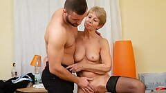 MATURE4K. Woman is old but still wants to fuck, so manager fucks her