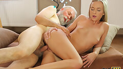 OLD4K. Dazzling beauty seduces her old teacher with ease